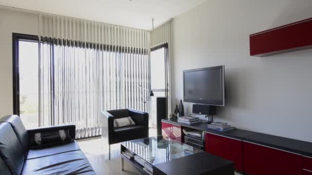 Modern black and red apartment interior