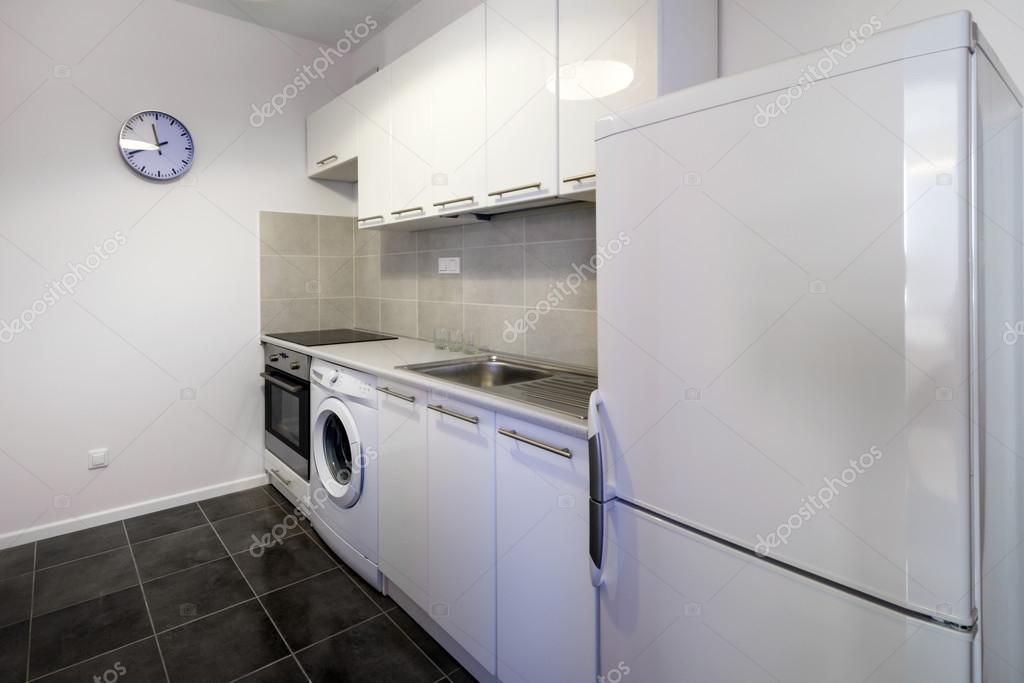 moderna cocina blanco limpio diseño de interiores — Fotos de Stock ...