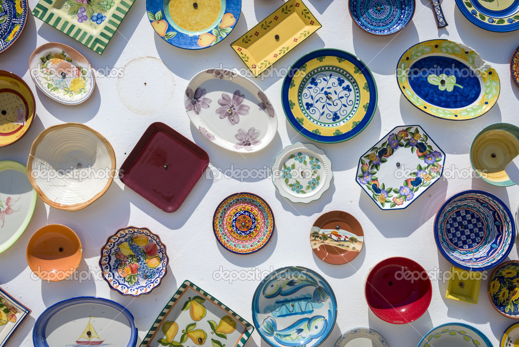 Traditional Portuguese handcrafted plates on the wall \u2014 Stock Photo & Traditional Portuguese handcrafted plates on the wall \u2014 Stock Photo ...