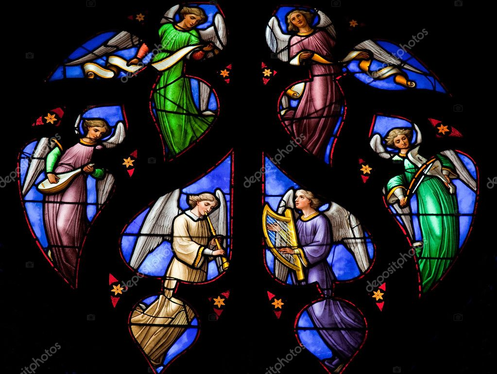 Stained glass window depicting an Angels choir