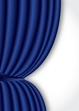 Blue theater silk curtain background with wave, EPS10