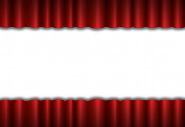 Red theater silk curtain background with wave, EPS10