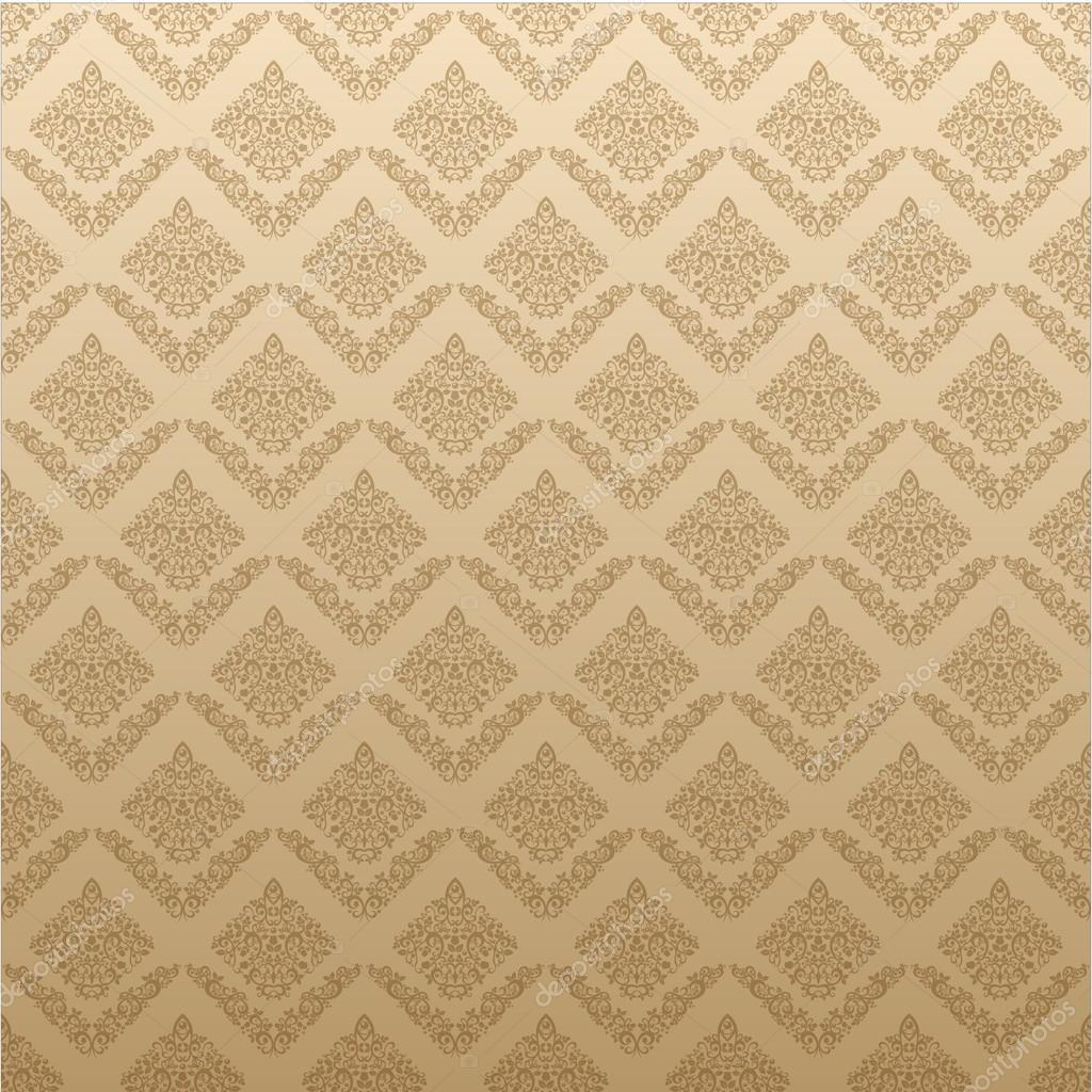 Gold Seamless Floral Elegant Wallpaper Vintage Pattern Background For Your Design Stock Vector