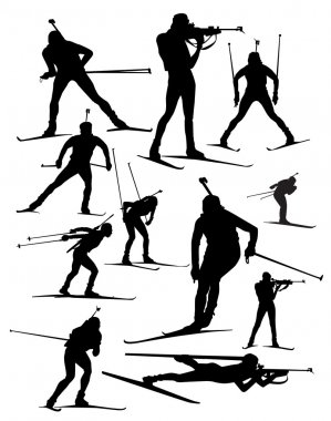 Biathlon vector silhouette