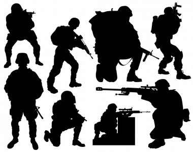 Modern soldier vector silhouettes