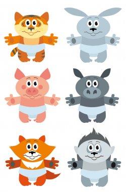 cartoon animal vector set