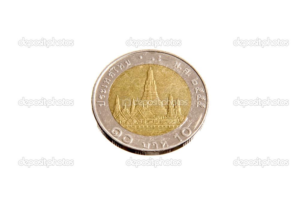 Thailand 10 Baht Münzen Zurück Stockfoto Bigjom 28998377