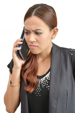 pretty woman worried by mobile phone