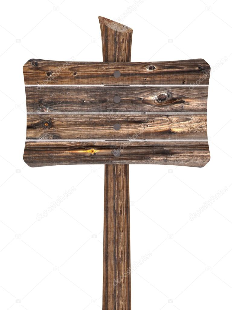 Blank Wood Sign On Post