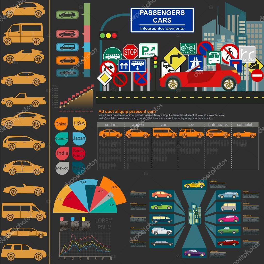Passenger car, transportation infographics