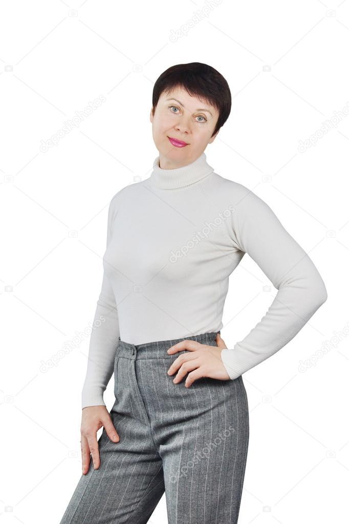 8866b854b553 Стройная женщина носить белые трикотажные водолазки — стоковое фото