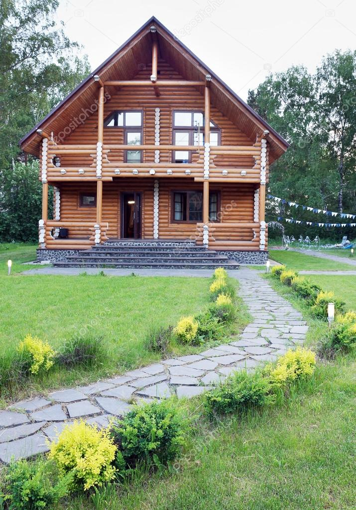 Wooden House Made of Logs Near of Forest
