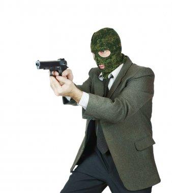 Gangster shooting with a handgun