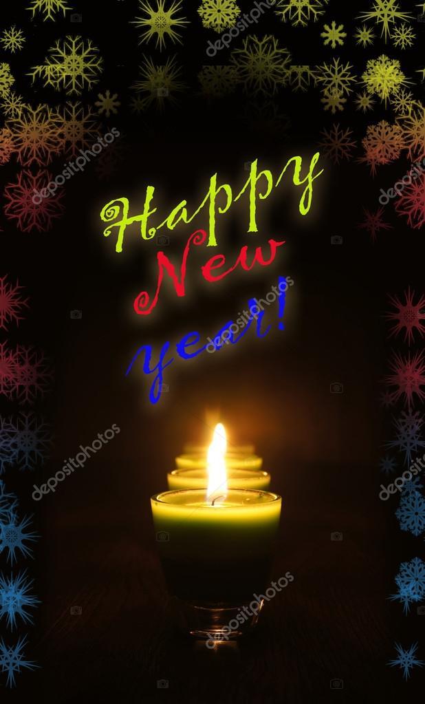 Frohes neues Jahr-Karte mit Begrüßung — Stockfoto © a-poselenov ...