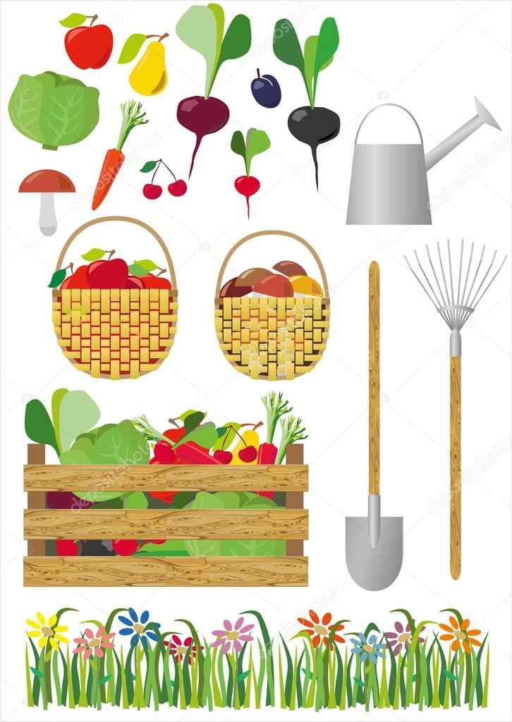 Vector editable image about gardening and vegetables