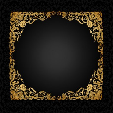 Vintage background with antique, luxury, black and gold ornament