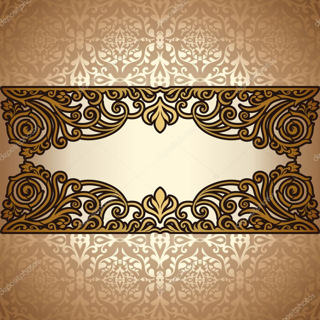 Vintage background ornate baroque pattern vector illustration stock - Vintage Background Antique Victorian Gold Ornament Baroque Frame Stock Vector 22981818