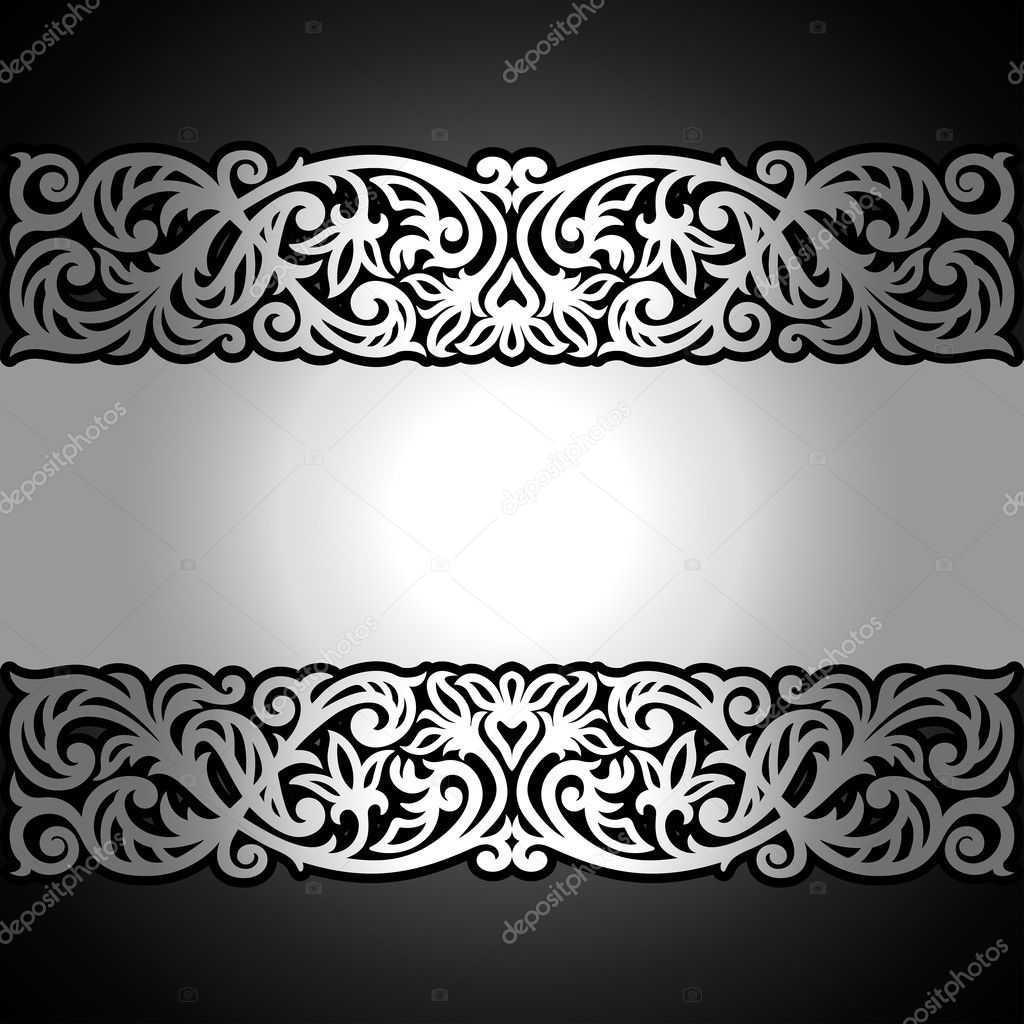 Vintage background ornate baroque pattern vector illustration stock - Stock Illustration Vintage Black Background Antique Victorian Silver Ornament Baroque Frame Stock Vector