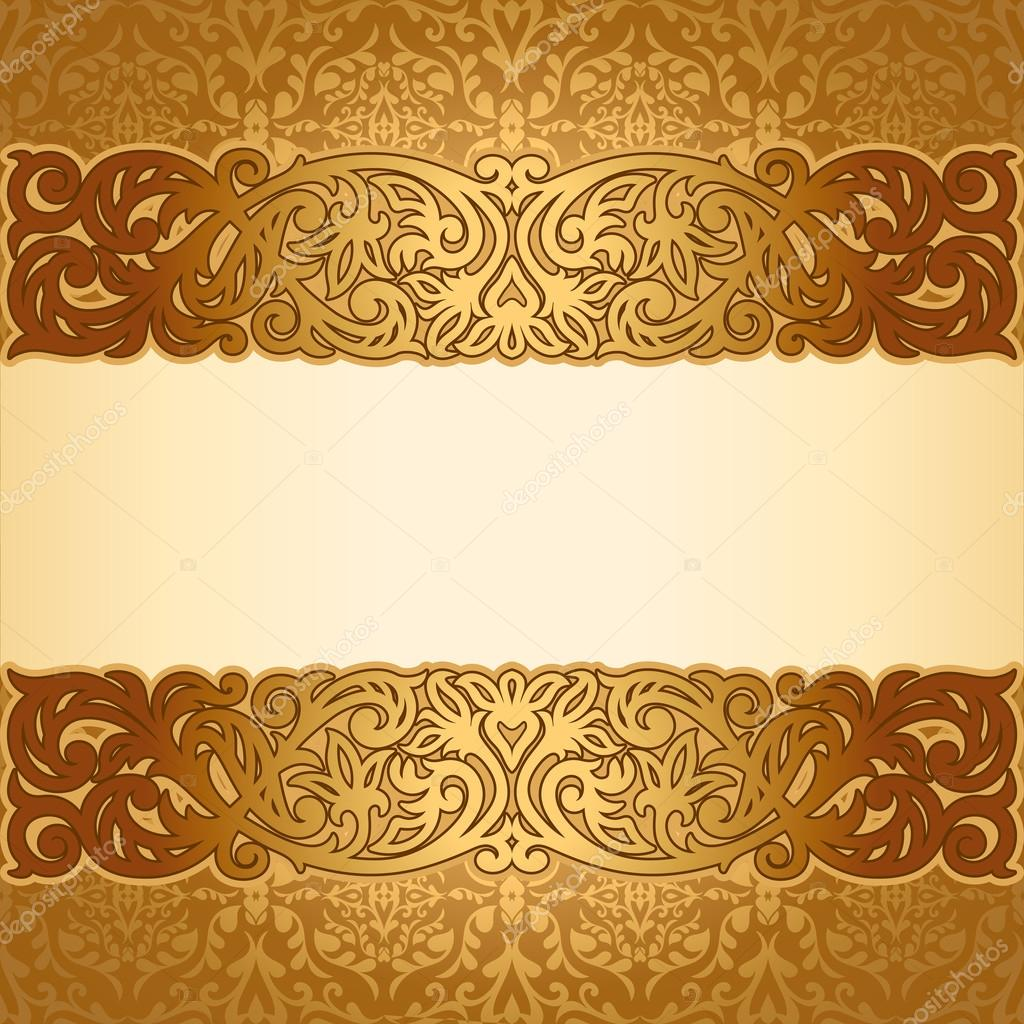 Vintage background ornate baroque pattern vector illustration stock - Vintage Background Antique Victorian Golden Ornament Baroque Frame Stock Vector 25655755