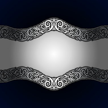 Vintage background, antique, victorian silver ornament, black and white frame on dark blue background