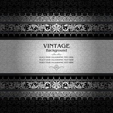 Vintage background, antique, victorian silver ornament, baroque frame