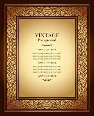 Vintage background, antique ornamental frame, victorian gold ornament