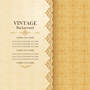 Vintage background, antique greeting card, invitation with lace and floral ornaments