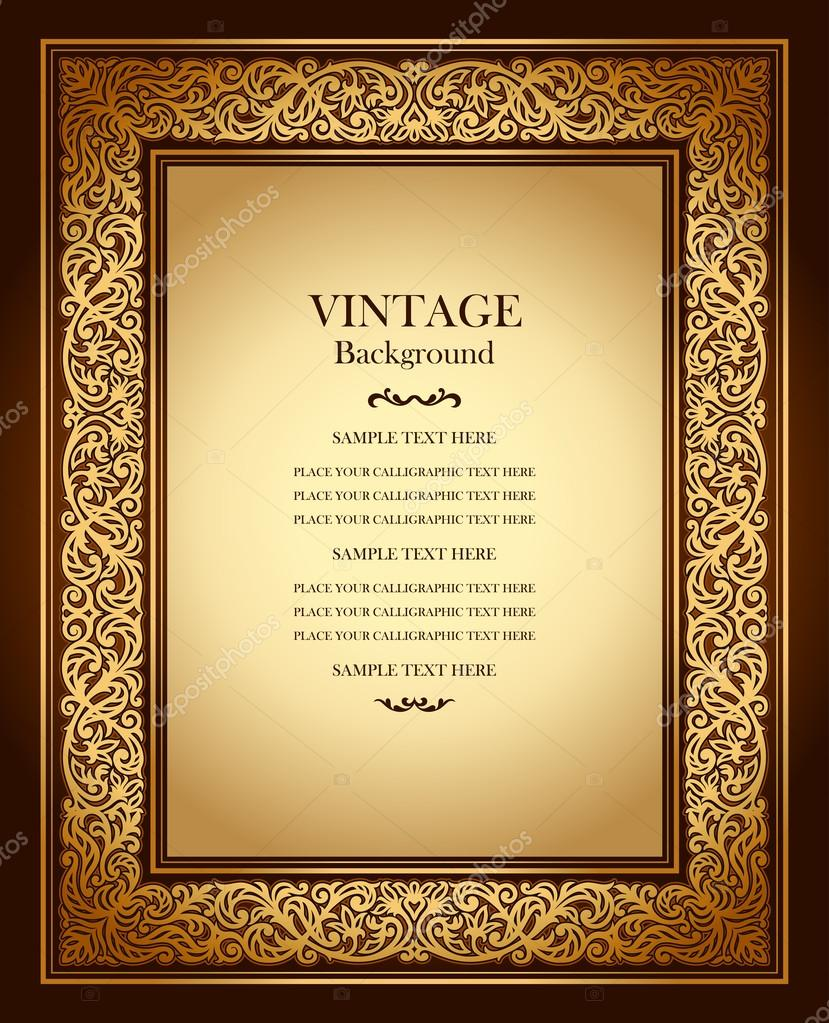 Vintage background, antique ornamental frame, victorian gold ornament, beautiful old paper, luxury certificate, award, royal diploma, ornate cover page, floral pattern, achievement template clipart vector