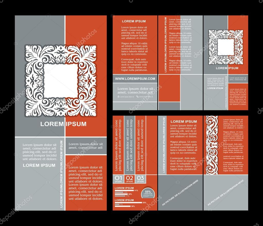 estilo vintage folleto plantilla de diseño con elementos de arte ...