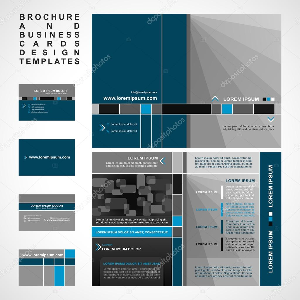 Brochure and Business cards design templates collection, retro ...