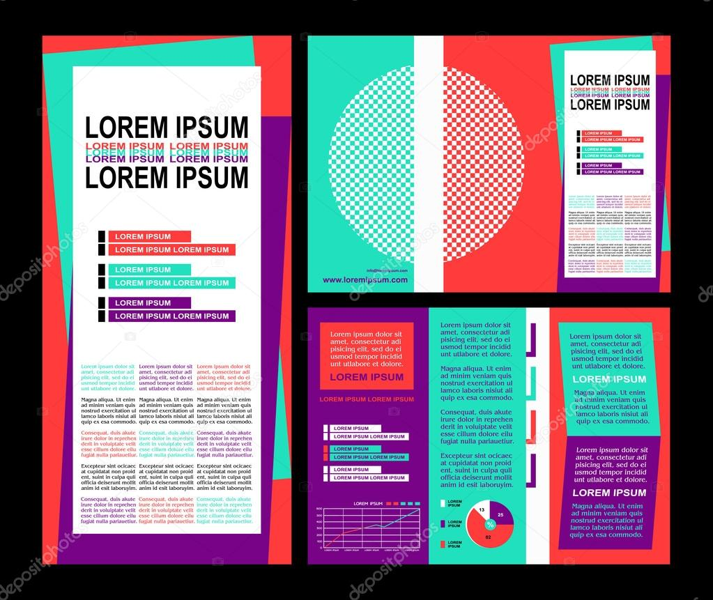business brochure layout three fold flyer template design presentation cover and pages with art elements in modern colors and creative solutions for