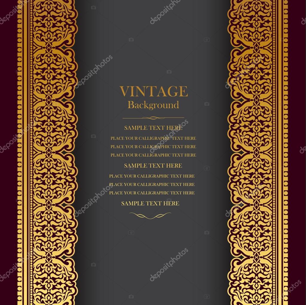 Vintage background design, elegant book cover, victorian ...