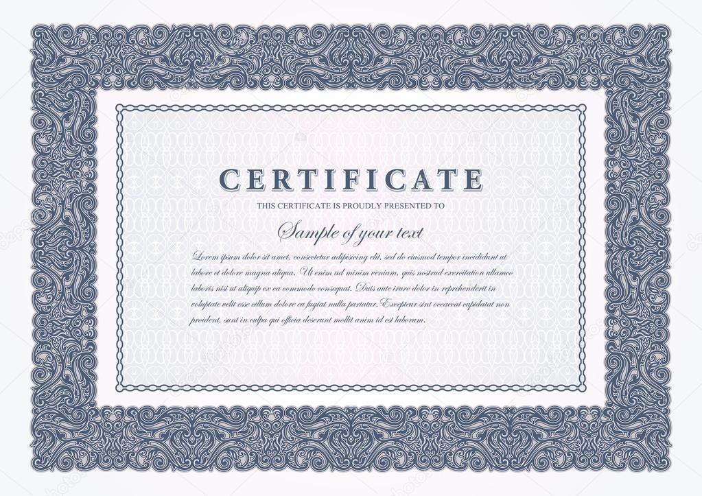 vintage zertifikat mit ornamentalen rahmen gutschein