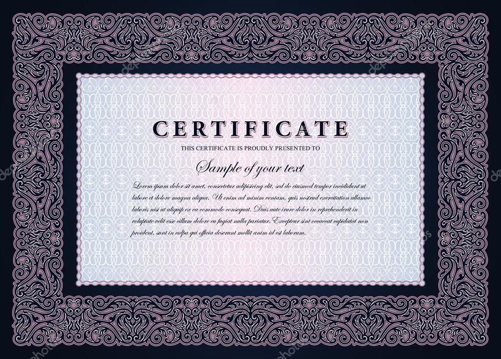 certificado de vendimia con lujo horizontal, marco ornamental, cupón ...