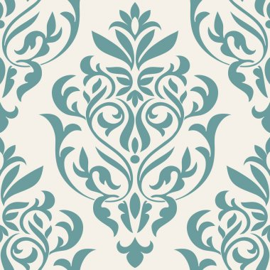 Damask beautiful background with rich, old style, luxury ornamentation, blue fashioned seamless pattern