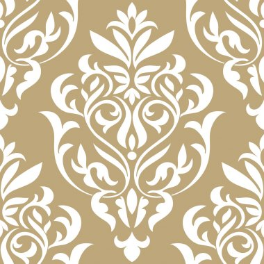 Damask beautiful background with rich, old style, luxury ornamentation, beige fashioned seamless pattern