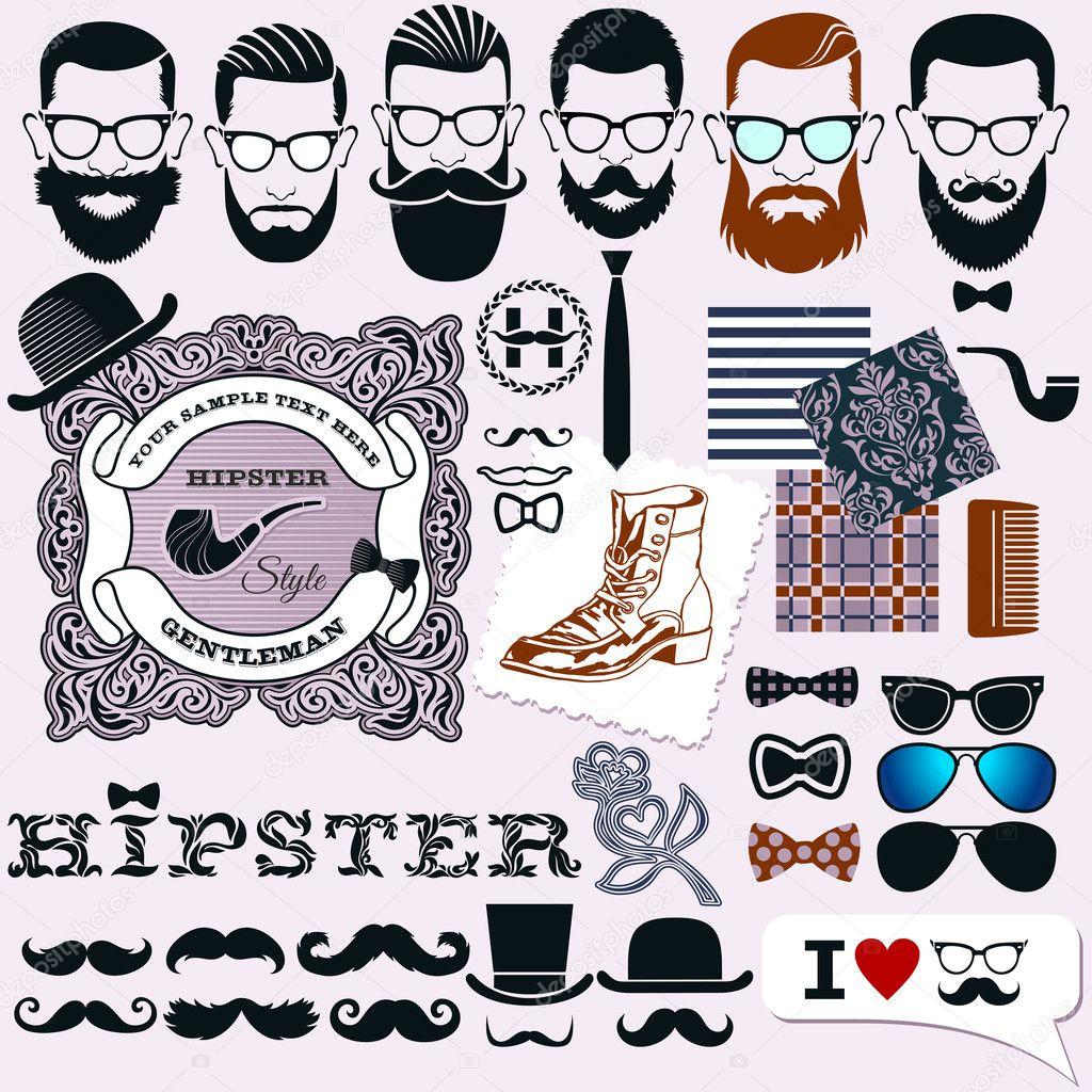 Diseño De Estilo Hipster Artísticos Elementos Aislados Caras De