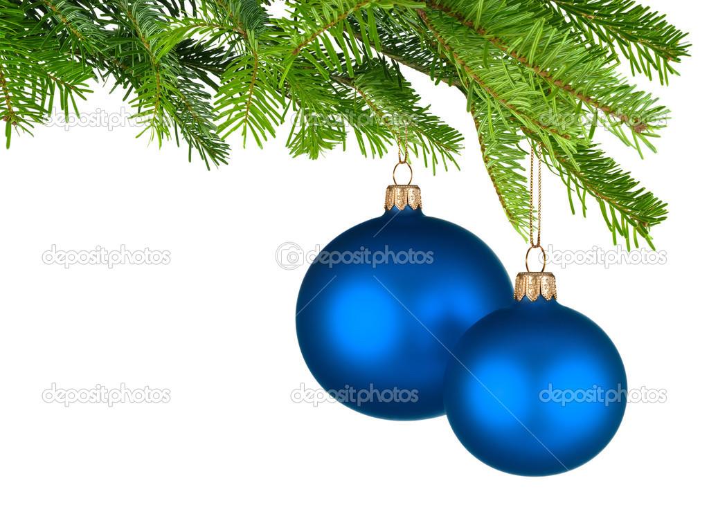 Von frischen gr nen zweige h ngen weihnachtskugeln blau for Christbaumkugeln blau