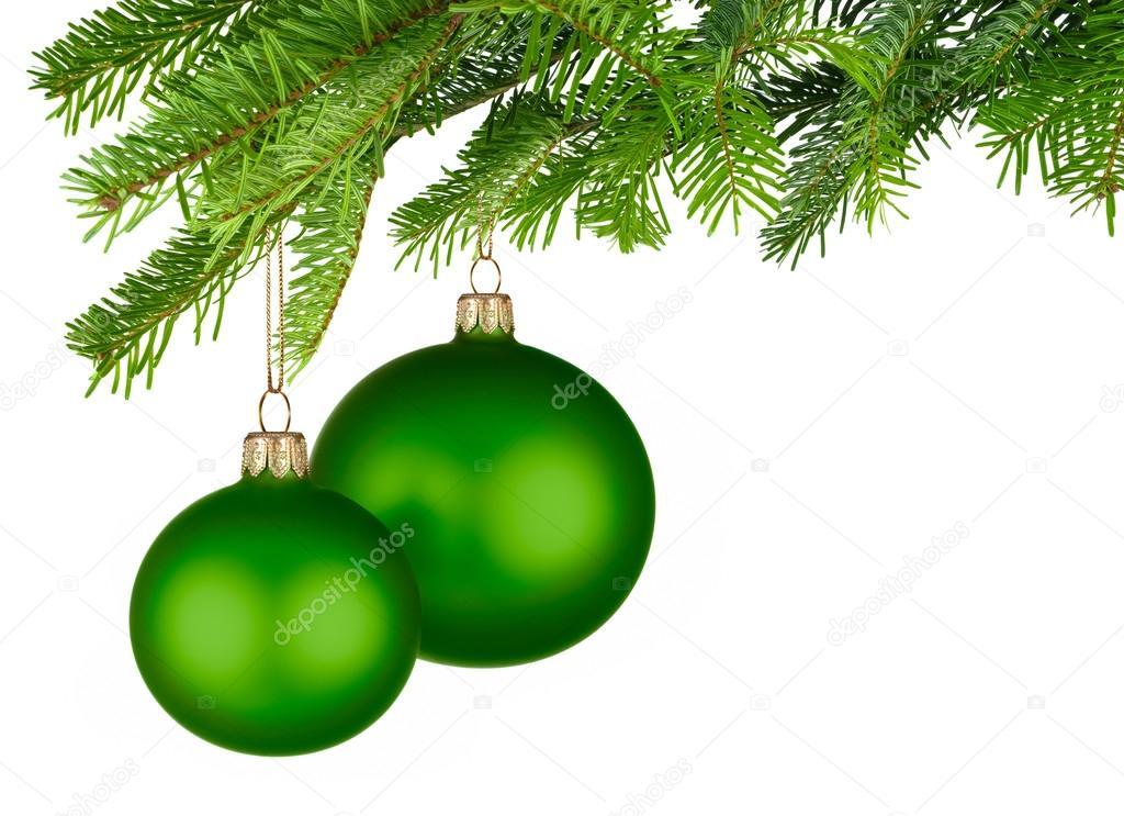 gr ne weihnachtskugeln von frischen gr nen zweige h ngen stockfoto smileus 34187565. Black Bedroom Furniture Sets. Home Design Ideas