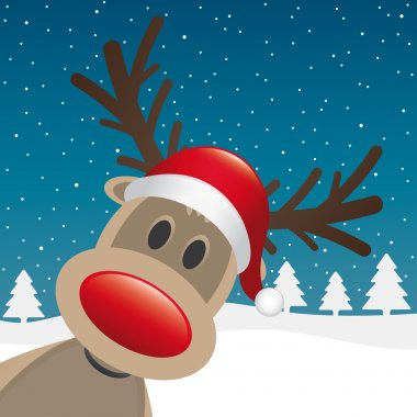 Reindeer red nose santa claus hat