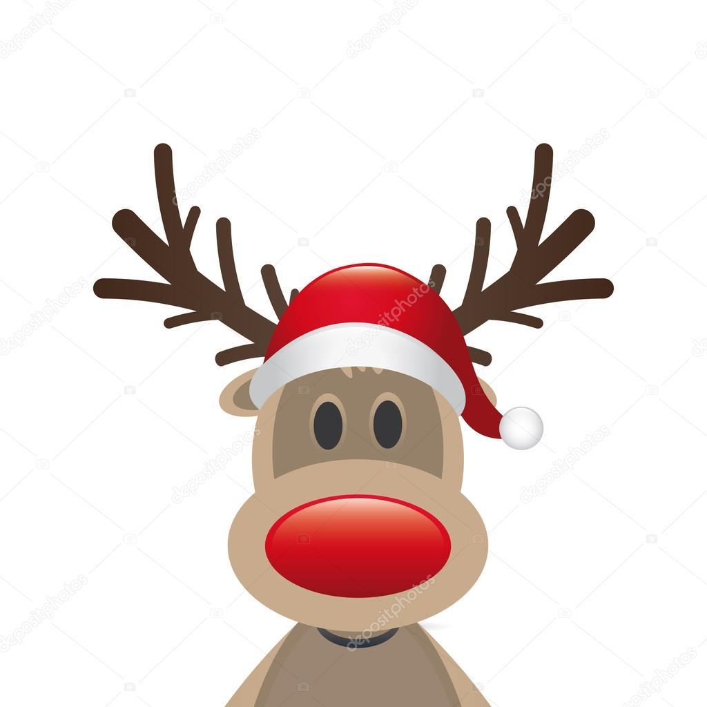 renne du pere noel nez rouge chapeau de père Noël renne nez rouge — Photographie dariusl  renne du pere noel nez rouge