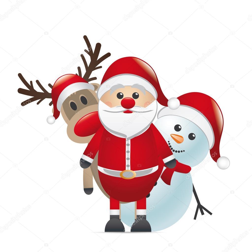 bonhomme de neige renne nez rouge père Noël — Photographie ...
