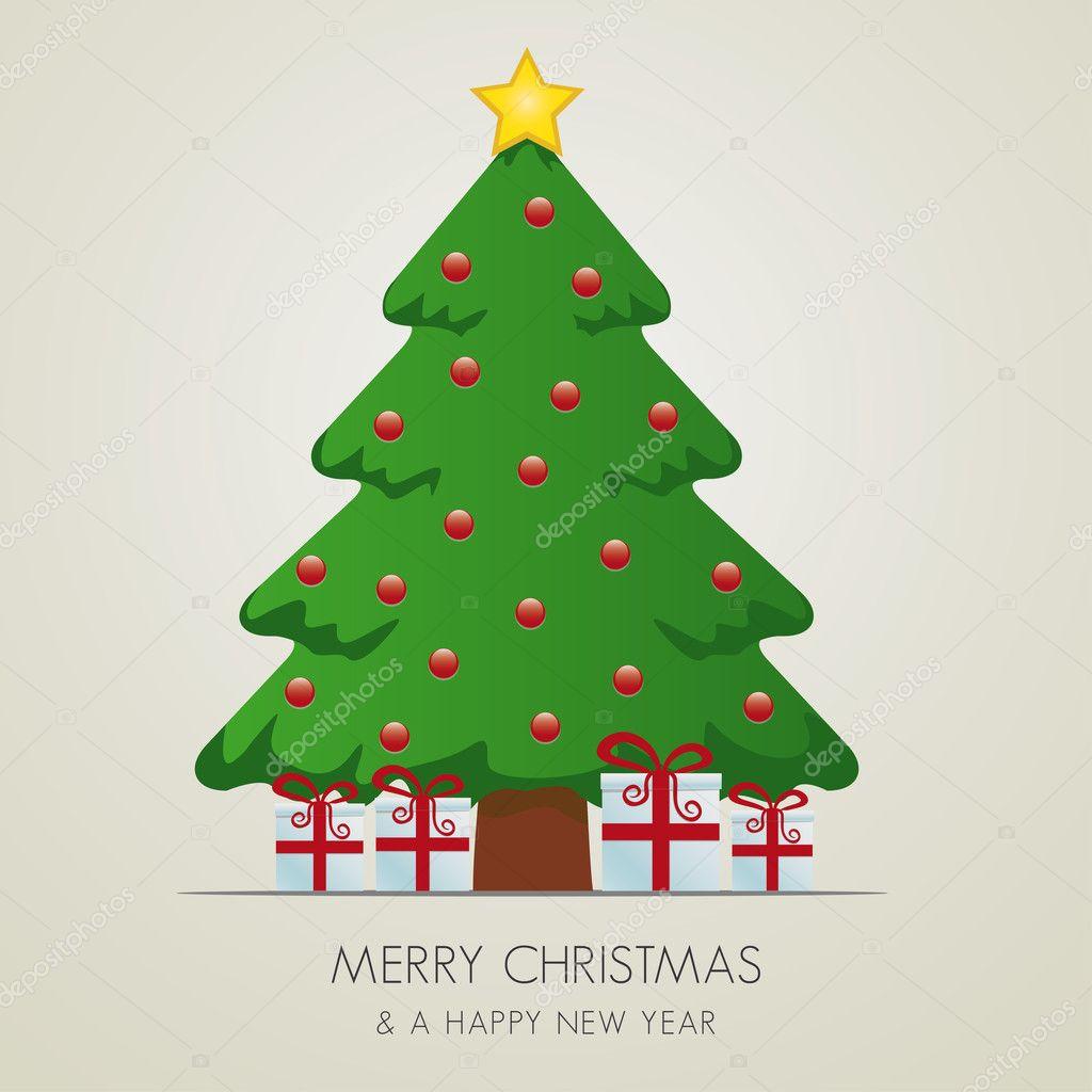 Weihnachtsbaum-Geschenk-Box und Goldstern — Stockvektor © dariusl ...