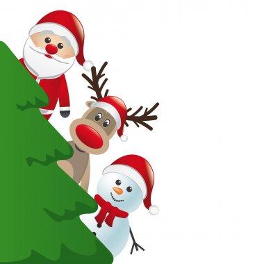 Santa reindeer and snowman behind christmas tree
