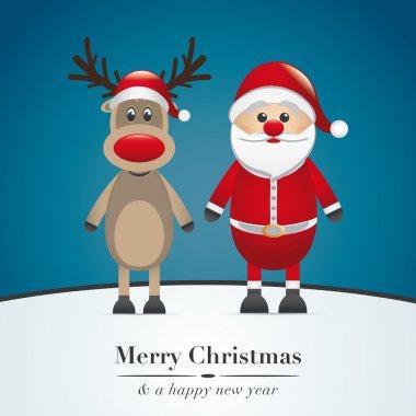 Reindeer and santa claus merry christmas