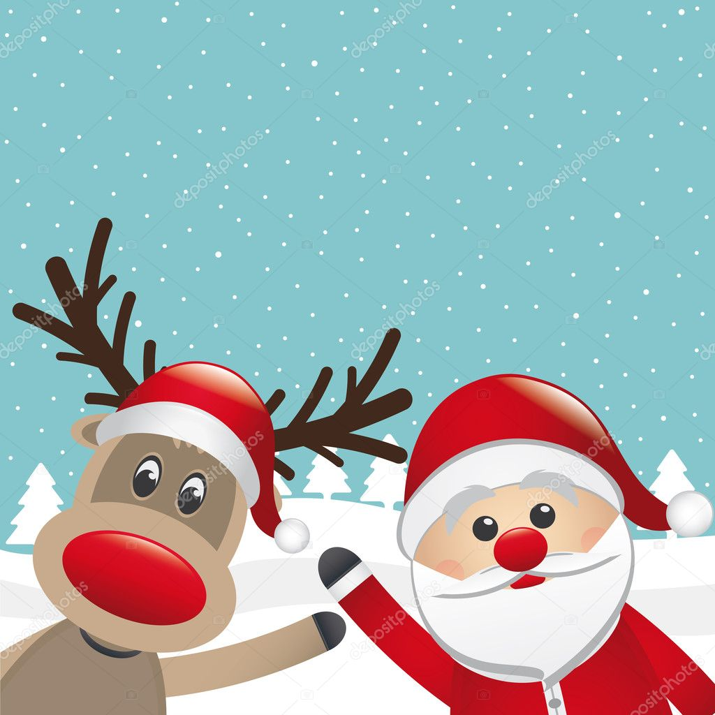 Reindeer red nose and santa claus wave