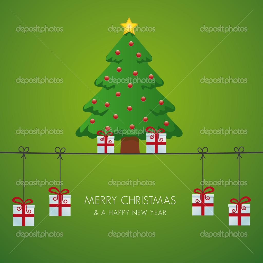 Weihnachtsbaum-Geschenk-Boxen, die Schnur hängen — Stockvektor ...