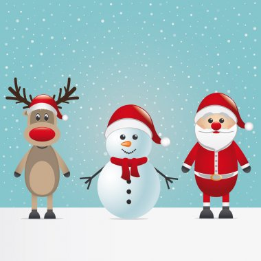 Santa claus reindeer and snowman winter snowy