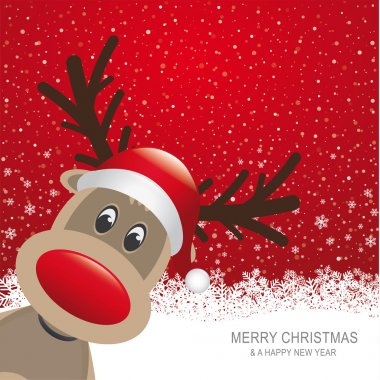 Reindeer red hat snow snowflake white background