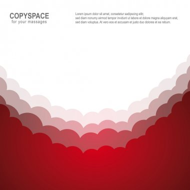 Cloud heaven red white isolated copyspace background